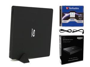 Pioneer BDR-XS07UHD Portable 6X Ultra HD 4K Blu-ray Burner External Drive Bundle with Cyberlink Software Download Installation Code, 50GB M-DISC BD-R DL and USB Cable - Burns CD DVD BD DL BDXL Discs