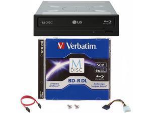 LG 16x WH16NS40 Internal Blu-ray Burner + 50GB Verbatim M-Disc BD-R DL + SATA Cable
