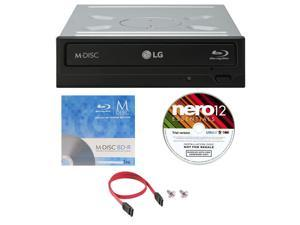 LG WH16NS40 16X M-Disc Blu-ray BDXL CD DVD Internal Burner Writer Drive + FREE 1pk Mdisc BD + Nero Software Disc + Cable & Mounting Screws