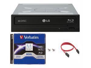 LG 14x WH14NS40 Internal Blu-ray DVD Drive + 100GB Verbatim M-Disc BDXL + SATA Cable