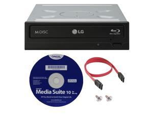 LG WH16NS40K 16X Blu-ray BDXL M-DISC DVD CD Writer Drive (with 3D Playback) Bundle with Cyberlink Software and SATA Cable