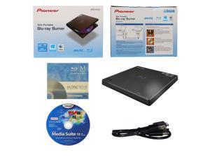Pioneer BDR-XD05 6X M-Disc BDXL CD DVD Slim Portable External Burner Writer Drive + FREE 3pk Mdisc BD + CyberLink Software Disc + USB Cable