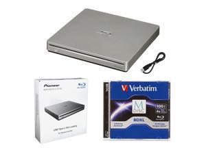 Pioneer BDR-XS07S Portable 6X Blu-ray Burner External Drive Bundle with 100GB M-DISC BDXL and USB Cable - Burns CD DVD BD DL BDXL Discs