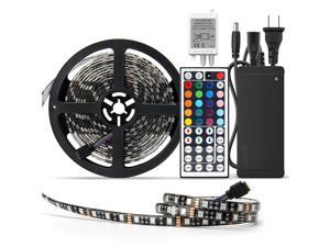 SUPERNIGHT Waterproof 5050 LED Strip Light - Black PCB 16.4ft 300leds Rope Lights with Remote Controller and 12V 5A Power Adapter, Festival Lighting