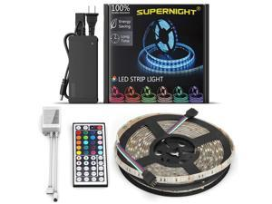 SUPERNIGHT 5M/16.4ft 5050 300 LEDs Waterproof  RGB Light Strip Flexible Lighting With 44 Key IR Remote and 12V 5A Power Supply Adapter