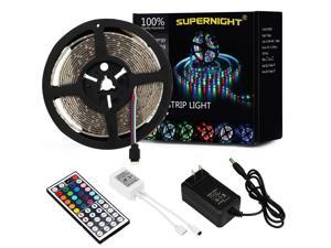 SuperNight® 5M 16.4ft 3528 RGB 300 LED Light Strip waterproof Lamp with 44 Key IR Remote Controller + 12V Power Supply Transformer