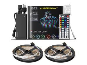 LED Strip Lights Kit Non-waterproof– 32.8ft (10M) 600 LEDs SMD 3528 RGB Light with 44 Key Remote Controller, Extra Adhesive Tape, Flexible Changing Multi-Color Lighting Strips for TV, Room