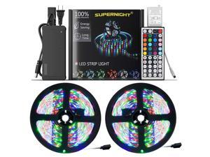 SUPERNIGHT LED Strip Lights Kit Waterproof – TWO 16.4ft 600 LEDs SMD 3528 RGB Light with 44 Key Remote Controller, Extra Adhesive Tape, Mixed Color Rope Lights