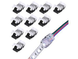 SUPERNIGHT 10 Pack 4 Pin LED Connector for Waterproof 10mm RGB 5050 5630 LED Strip Lights, Strip to Wire Quick Connection Without Stripping Wire