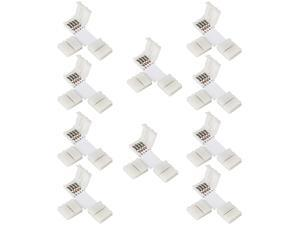 SUPERNIGHT 10 Pieces T Shape 4 Pin Connector SUPERNIGHT 10mm Wide Solderless Quick Splitter 4-Conductor Strip to Strip Connector for 5050 & 5630 RGB LED Strip Lights Extension