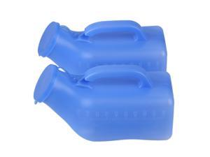 2 x Male Pee Urinal Holder Blue Plastic Bottle 1000ml Camping Car Travel Toilet