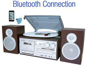 Boytone BT-28SPS Bluetooth Classic Turntable Stereo System CD Cassette SD Silver