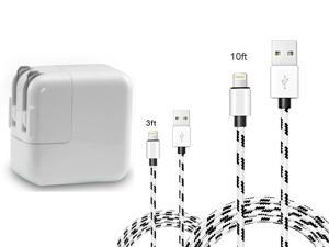 12W USB Charger for iPad, 2.4A 12W USB Wall Charger Foldable Portable Travel Plug and 2 Pack Fast Charging Cable (3FT)(10FT) Compatible with iPhone, iPad