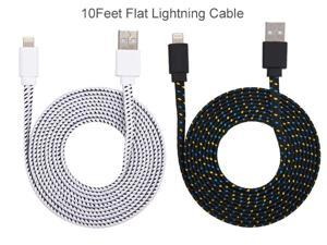 iPhone  12, 12 pro, 12 max pro, 11, 11 pro, 11 max pro, XR, X, 8, 8 PLUS ,7,7 Plus Charger - 10ft, White, Noodle Lightning Cable - Strong Long Braided USB Data Cord - Flat Charging/Sync Wire cable