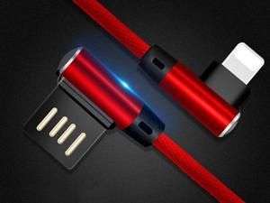 Lightning Cable, Newest 90 Degree Right Angle Data Cable Nylon Braided Fast Sync & Charge Lightning to USB Cable for iPhone X / 8 / 7 / 7 Plus / 6 / 6S /6S Plus, 3.3FT Red Color