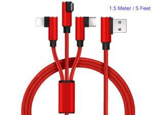 USB Type C Cable, 3in1 USB Charging Cord with Lightning/Micro USB/Type C Adapters, Nylon Braided Right Angle Elbow Cord for iPhone iPad Mini Air, Samsung Huawei Android & Type C Devices (5ft/1.5m Red)