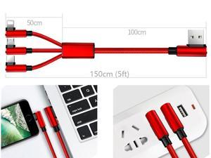 Multi Charger Cable 5FT Nylon Braided Universal 3 in 1 Multiple USB Charging Cord Right-tip Angled Adapters [Lightning + Type C + Micro USB] for iPhone X/8/7 iPad iPod, Samsung S8/Note 8 and More -Red