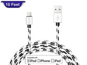 iPhone Charger Cable, 10FT Fabric Braided Lightning Charging Data Cord for iPhone X 8 8Plus 7 7 Plus 6s 6sPlus 6 6Plus 5 5S 5C SE iPad iPod & More