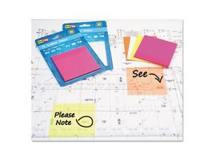 Transparent Film Sticky Notes 3 x 3 Neon Pink 50-Sheets/Pad