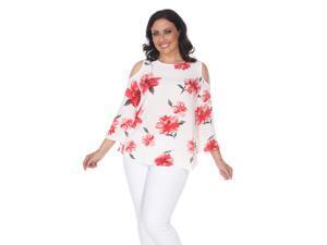 f32d1237287 White Mark Women s Plus Size White Lorain Cold Shoulder Top