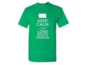 Keep Calm and Love South Dakota Adult T-Shirt Tee 8ddbb162b