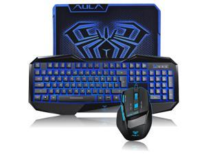 AULA USB Wired Blue Backlit Gaming Keyboard and Mouse for Computer with Mouse Pad