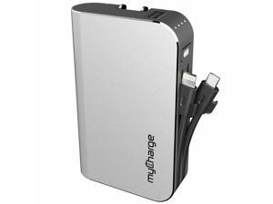 myCharge Hub Plus Powerbank 6700 mAh with Lightning&Micro-USB Cable Silver Batteries and Portable Power