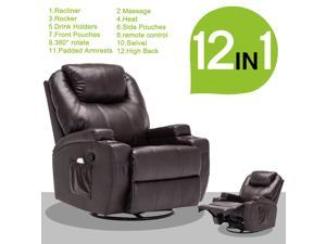 Living Room Recliner Massage Chair Heated - Brown