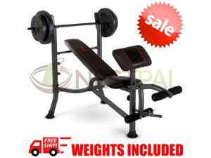 Weight Bench Press With 80lbs Plates Home Gym Workout Equipment Preacher Leg