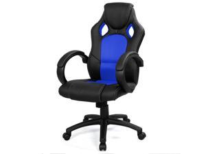 High Back Race Car Style Bucket Seat Office Desk Chair Gaming Chair Blue