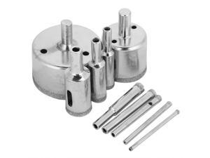 10pcs Diamond Coated Core Drill Bits 3~50mm Hole Saw Drills for Tile Ceramic Glass Porcelain Marble