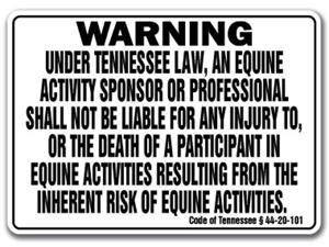 TENNESSEE Equine Sign activity liability warning statute horse farm barn stable