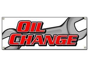 OIL CHANGE BANNER SIGN car engine auto repair quick fast shop mechanic