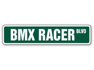 BMX RACER Street Sign bike frame bars race Decals  Indoor/Outdoor