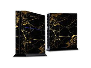 Skin Decal Wrap for Sony PlayStation 4 PS4 Console Black Gold Marble