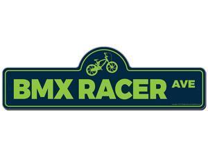 Bmx Racer Street Sign    Funny Home Decor Garage Wall Lover Plastic Gag Gift