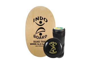 """INDO BOARD Original Training Package - Balance Board for Fitness and Fun, Balance Training, Core Workouts - Comes with 30"""" X 18"""" Deck, 6.5"""" Roller, 14"""" IndoFLO Cushion (NATURAL)"""