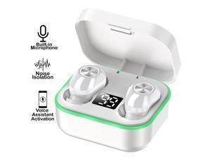 M8 Universal Wireless EarBud Headphone - HD Binuaral Stereo & Mic w/ Case, White