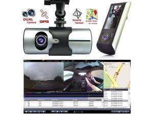 Indigi HD Dash-Cam Dual Camera Front + InCab Driving Recorder Car DVR GPS Logger G-Sensor