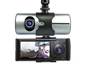 Indigi® Car Blackbox DVR DashCam Double Camera (Front+Rear) Driving Recorder GPS Tracker