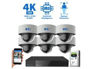 GW Security 8 Channel 4K 8MP (3840×2160) H.265+ IP PoE AI Smart NVR Security Camera System with 6 x Outdoor/Indoor 4K Microphone Dome Security Cameras, Human Detection, Starlight Color Night Vision