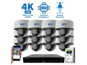 GW Security 16 Channel 4K 8MP (3840×2160) H.265+ IP PoE AI Smart NVR Security Camera System with 12 x Outdoor/Indoor 4K Microphone Dome Security Cameras, Human Detection, Starlight Color Night Vision