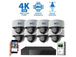 GW Security 16 Channel 4K 8MP (3840×2160) H.265+ IP PoE AI Smart NVR Security Camera System with 8 x Outdoor/Indoor 4K Microphone Dome Security Cameras, Human Detection, Starlight Color Night Vision