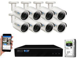 GW Built-in microphone PoE IP Security System, 8CH 4K H.265 NVR with 8 x 5MP 1920P IP Camera, Day/Night Weather Proof, Video Audio Power All Thru One Ethernet Cable, 2TB