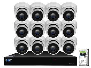 GW 4K UltraHD 8MP Security Camera System, 16-channel H.265 UHD 4K NVR, 12 x 4K 8 Megapixel Waterproof Dome PoE IP Cameras, Smart AI Face Recognition Human/Vehicle Detection, 4TB HDD