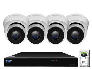 GW 4K UltraHD 8MP Security Camera System, 8-channel H.265 UHD 4K NVR, 4 x 4K 8 Megapixel Waterproof Dome PoE IP Cameras, Smart AI Face Recognition Human/Vehicle Detection, 2TB HDD