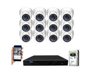 GW Security 16 Channel 4K NVR 5MP Smart AI Human Detection Security Camera System with (12) x IP PoE 5MP 1920P Outdoor/Indoor Microphone Dome Cameras 100 Feet Night vision, Free Remote Viewing