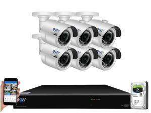 GW 4K UltraHD 8MP Security Camera System, 8-channel H.265 UHD 4K NVR, 6 x 4K 8 Megapixel Waterproof Bullet PoE IP Cameras, Smart AI Face Recognition Human/Vehicle Detection, 2TB HDD