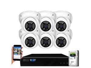 GW Security 8 Channel 5MP H.265 NVR IP Camera Network PoE Video & Audio Surveillance System (2TB HDD), 6 x HD 1920P Weatherproof Microphone Turret Security Cameras, AI Human Detection