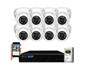 GW Security 8 Channel 5MP H.265 NVR IP Camera Network PoE Video & Audio Surveillance System (2TB HDD), 8 x HD 1920P Weatherproof Microphone Turret Security Cameras, AI Human Detection
